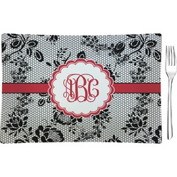 Black Lace Rectangular Appetizer / Dessert Plate (Personalized)