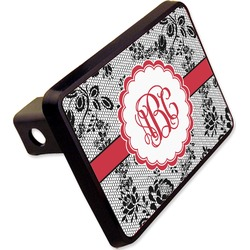 "Black Lace Rectangular Trailer Hitch Cover - 2"" (Personalized)"