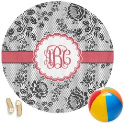 Black Lace Round Beach Towel (Personalized)