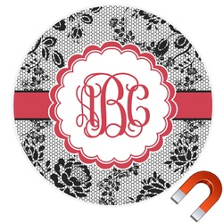 Black Lace Round Car Magnet (Personalized)