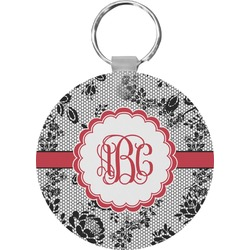 Black Lace Round Keychain (Personalized)