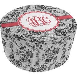 Black Lace Round Pouf Ottoman (Personalized)
