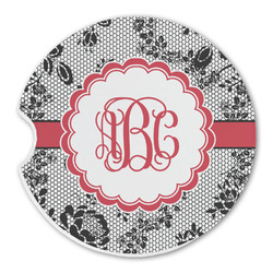 Black Lace Sandstone Car Coasters (Personalized)