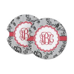 Black Lace Sandstone Car Coasters (Personalized)