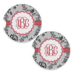 Black Lace Sandstone Car Coasters - Set of 2 (Personalized)