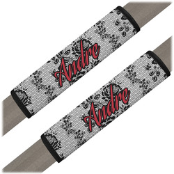Black Lace Seat Belt Covers (Set of 2) (Personalized)