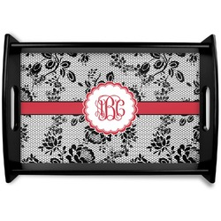 Black Lace Black Wooden Tray (Personalized)