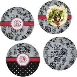 Black Lace Set of 4 Lunch / Dinner Plates (Glass) (Personalized)