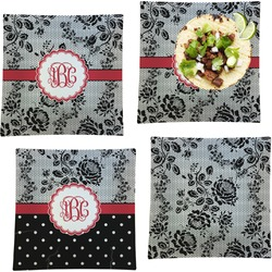 """Black Lace Set of 4 Glass Square Lunch / Dinner Plate 9.5"""" (Personalized)"""