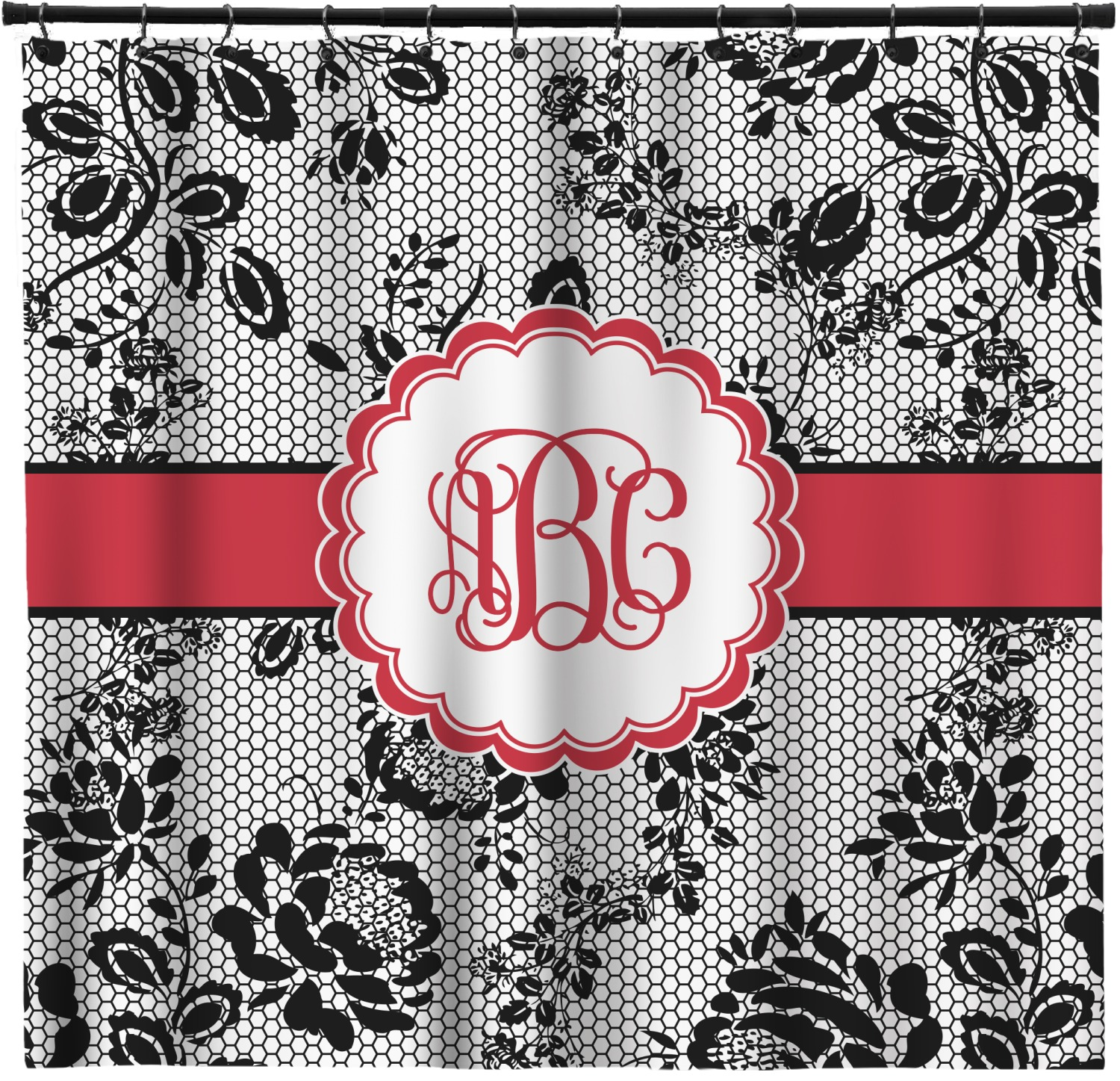 Black Lace Shower Curtain Personalized