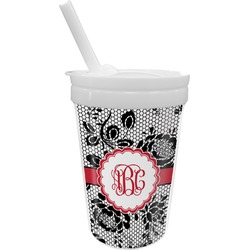 Black Lace Sippy Cup with Straw (Personalized)