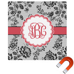 Black Lace Square Car Magnet (Personalized)
