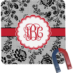 Black Lace Square Fridge Magnet (Personalized)