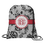 Black Lace Drawstring Backpack (Personalized)