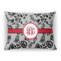 Black Lace Rectangular Throw Pillow Case (Personalized)