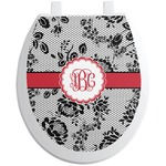 Black Lace Toilet Seat Decal (Personalized)