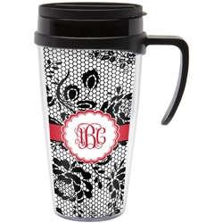 Black Lace Travel Mug with Handle (Personalized)