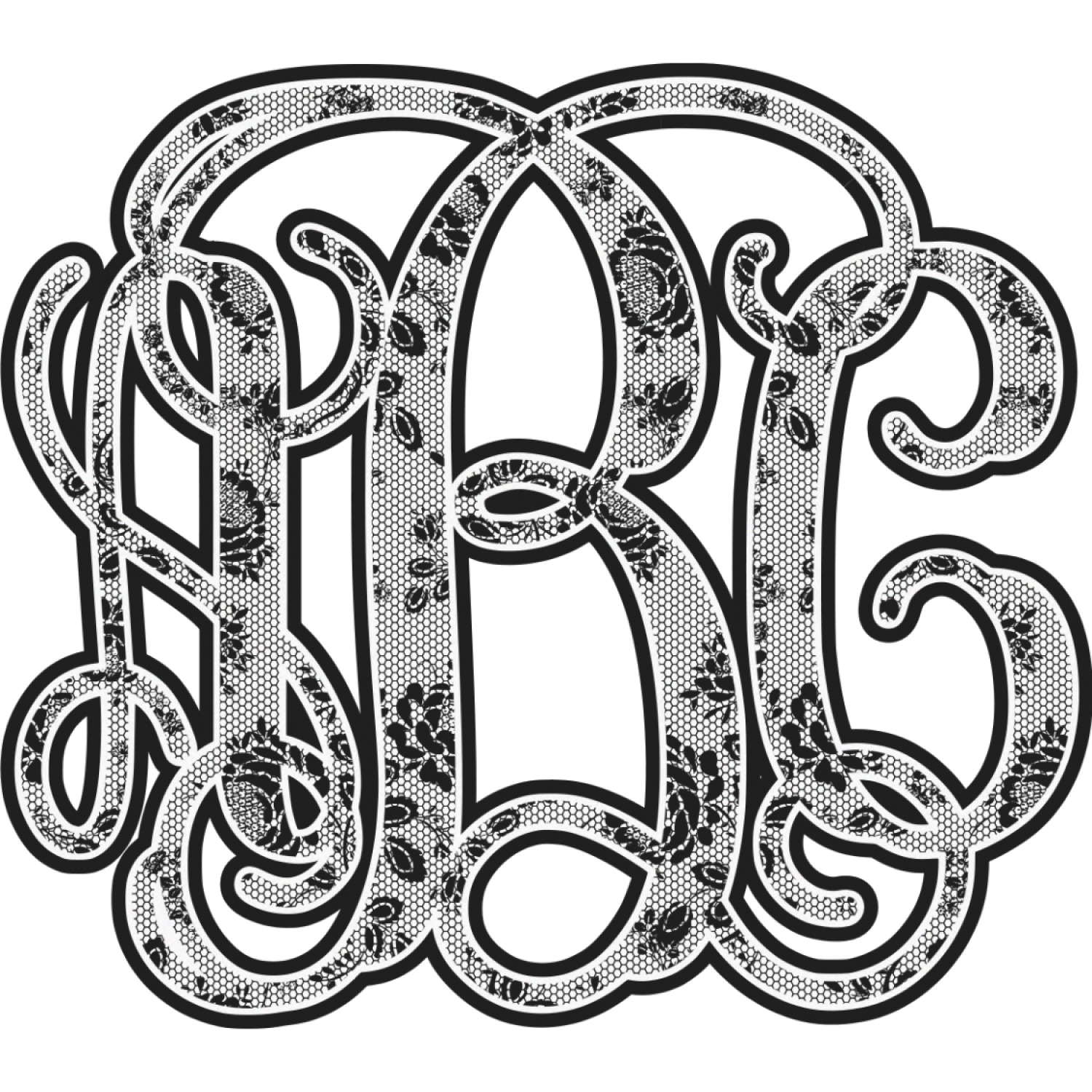 black lace monogram wall decal medium personalized rnk shops. Black Bedroom Furniture Sets. Home Design Ideas