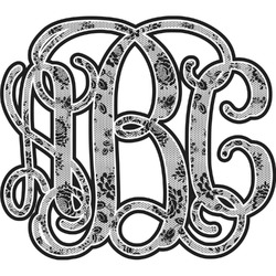 Black Lace Monogram Decal - Custom Sized (Personalized)