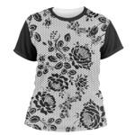 Black Lace Women's Crew T-Shirt (Personalized)