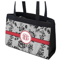 Black Lace Zippered Everyday Tote (Personalized)