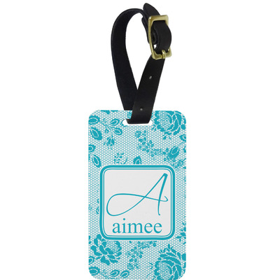 Lace Metal Luggage Tag w/ Name and Initial