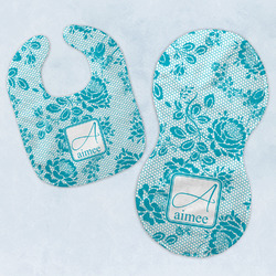 Lace Baby Bib & Burp Set w/ Name and Initial