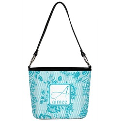 Lace Bucket Bag w/ Genuine Leather Trim (Personalized)