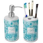 Lace Ceramic Bathroom Accessories Set (Personalized)