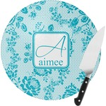 Lace Round Glass Cutting Board (Personalized)