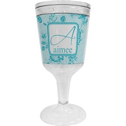 Lace Wine Tumbler - 11 oz Plastic (Personalized)