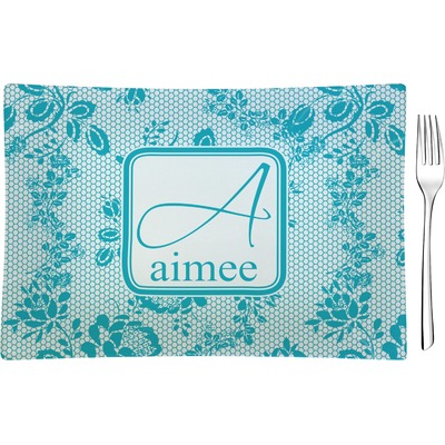 Lace Rectangular Glass Appetizer / Dessert Plate - Single or Set (Personalized)