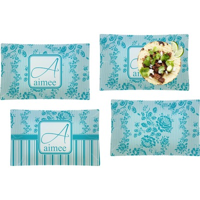 Lace Set of 4 Glass Rectangular Lunch / Dinner Plate (Personalized)