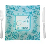 """Lace Glass Square Lunch / Dinner Plate 9.5"""" - Single or Set of 4 (Personalized)"""