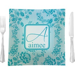 "Lace Glass Square Lunch / Dinner Plate 9.5"" - Single or Set of 4 (Personalized)"