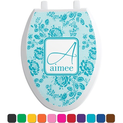 Lace toilet seat decal elongated personalized you customize it - Elongated toilet seat covers in some stunning patterns ...