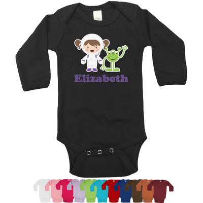 Girls Astronaut Long Sleeves Bodysuit - 12 Colors (Personalized)