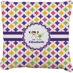 """Girls Astronaut Faux-Linen Throw Pillow 26"""" (Personalized)"""