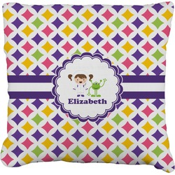 Girls Astronaut Faux-Linen Throw Pillow (Personalized)