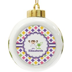 Girls Astronaut Ceramic Ball Ornament (Personalized)