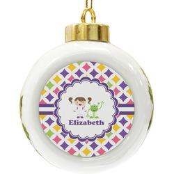 Girls Astronaut Ceramic Ball Ornament (Personalized)