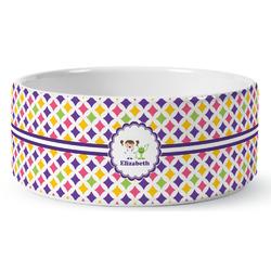 Girls Astronaut Ceramic Dog Bowl (Personalized)