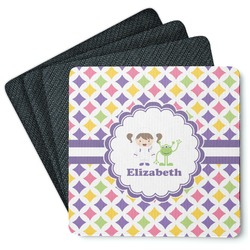 Girls Astronaut 4 Square Coasters - Rubber Backed (Personalized)