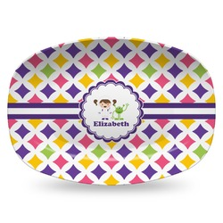 Girls Astronaut Plastic Platter - Microwave & Oven Safe Composite Polymer (Personalized)