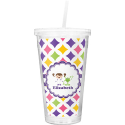 Girls Astronaut Double Wall Tumbler with Straw (Personalized)