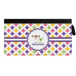 Girls Astronaut Genuine Leather Ladies Zippered Wallet (Personalized)