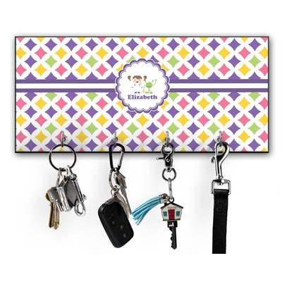 Girls Astronaut Key Hanger w/ 4 Hooks w/ Graphics and Text