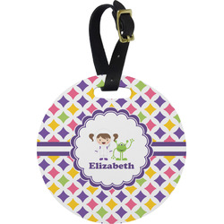 Girls Astronaut Round Luggage Tag (Personalized)
