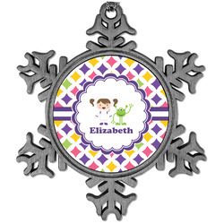 Girls Astronaut Vintage Snowflake Ornament (Personalized)