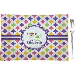 Girls Astronaut Glass Rectangular Appetizer / Dessert Plate - Single or Set (Personalized)